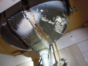 Corrosion at bathroom sink